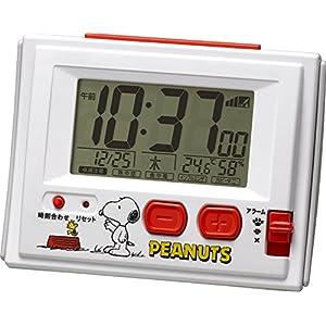 SNOOPY ( スヌーピー ) 電波 目覚まし キャラクター 時計 デジタル R126 温度 湿度 カレンダー 表示 白 リズム時計 8RZ126RH03