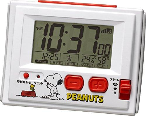 リズム時計 RHYTHM スヌーピー 電波 目覚まし キャラクター 時計 R126 ホワイト 8RZ126RH03