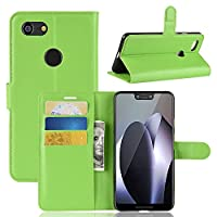 Google Pixel 3 XL Holster Case Flip, Moonmini Cover Suit Premium Vertical Leather Pouch Sleeve Carrying Case 専用ケース with Card Slot Holster for Google Pixel 3 XL (Green)