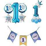 D DOLITY 約25点 1歳 誕生日パーティー 風船 バルーン バナー 男の子 お祝いパーティー