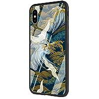 iPhone 6/6s用DAVIDLING電話ケース、耐擦傷性および衝撃吸収性の強化ガラスバックカバーおよびソフトシリコンラバーバンパーフレームAM-386 Great Wave Art