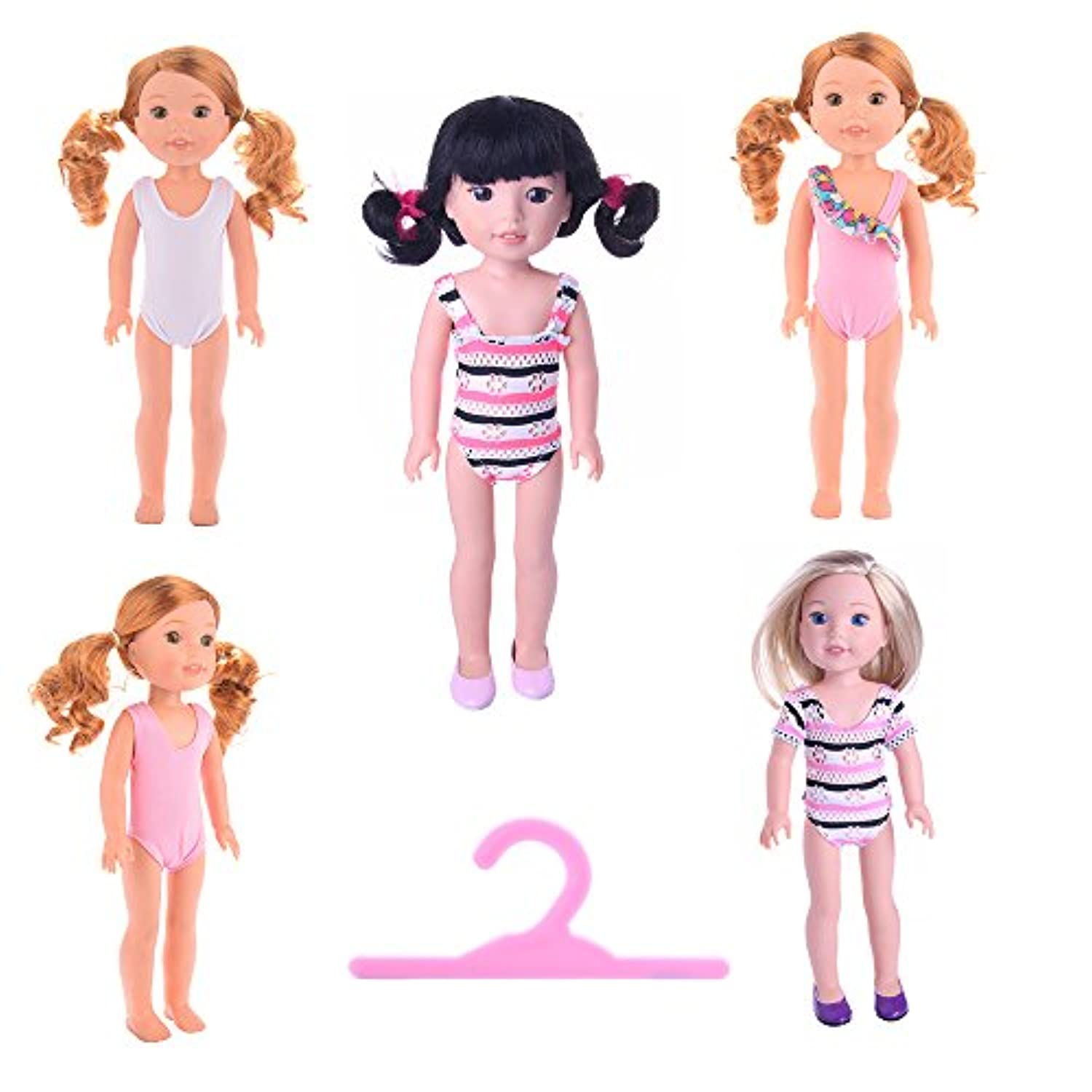 MSDS Doll Clothes for American Girl Dolls Swimsuit:- 5set for 14.5 inch Wellie Wisher Dolls