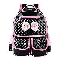 Zhhlinyuan 超軽量 Cute Bowknot Sweet Kids 子供たち PU Leather Student Bags Kids Backpack Girls School Waterproof 人気 入学用