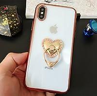 iPhone XS ケース リング付き かわいい iPhone X ケース おしゃれ Finger Ring Bumper Case for iPhone Xs/X落下防止リング付き キラキラ デコ アイフォンXS ケース アイフォンX用 カバー スタンド機能 heartハートリング ピンクゴールド RKS471B