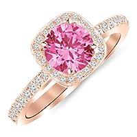1.25カラット14Kホワイトゴールドハロースタイルクッション形状ダイヤモンド婚約リング1カラット天然ピンクサファイアセンター(家宝品質)