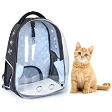 Transparent Pet Travel Bag with Pocket, Ventilated Design Cat Space Capsule Carrier, Animal Portable Backpack Pet Handbag for Small Cats and Dogs, Puppies, Rabbit, Chinchillas, Guinea Pigs