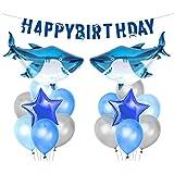 サメ 誕生日パーティー 飾り セット 海 ブルー 動物 可愛い 男の子 子供 バースデー happy birthday バナー ガーランド アルミバルーン 風船 スター 星 シルバー 部屋 装飾 34枚セット