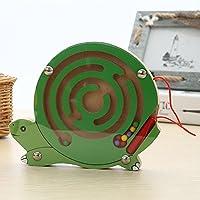 LanLanミニペンラビリンスパズル漫画動物磁気迷路Toy for Kids知的開発ゲーム教育ブロックランダム色 XJSJ-1010-LW04