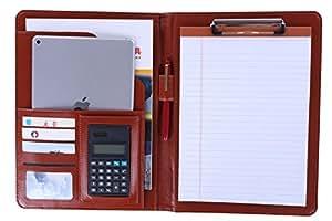 (キング デラックス) KING DELUXE 多機能 多収納 ルーズリーフ手帳 ビジネス手帳 システム手帳 カバー 万能 バインダー 電卓 付き A4 ブラウン