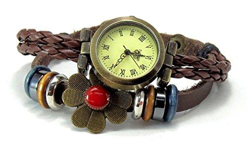 アンティーク風 お花モチーフが かわいい 編み編みベルト ブレスレット腕時計 おしゃれ ファッション...