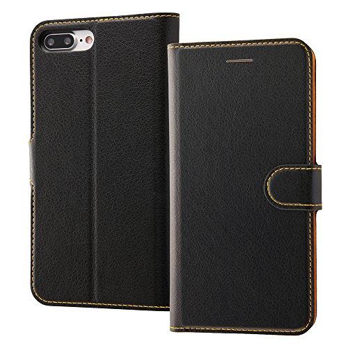 レイ・アウト iPhone8 Plus / iPhone7 Plus ケース 手帳型 シンプル マグネット ブラック/オレンジ RT-P15ELC1/BOR