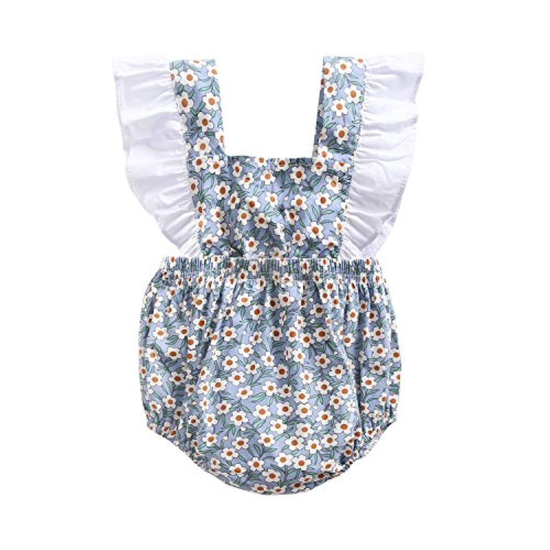 可愛い 子供服 新生児 赤ちゃん 女の子 コットン 花 プリント 可愛い 夏 ボディスーツ ロンパース ジャンプスーツ (2?3歳, BRS8042)