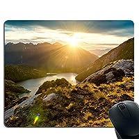 マウスパッド 山、自然の風景 日の出 柄 滑り良い 耐久性に優れ 滑り止め おしゃれマウス パッド 滑り止め 防水 PC ラップトップ 水洗い レーザー 光学式 24*20cm