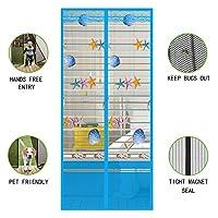 刺繍 Velcro 玄関網戸 マグネット式 夏 ハンズフリーします。 暗号化 の アンチモスキート また 害虫対策 網戸カーテン 無料パンチ-ブルー 80x190cm