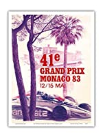 "41st Monaco Grand Prix 1983 – Formula One Race Car – Vintage Car Racingポスターby Pierre Lecomte c.1983 – マスターアートプリント 9"" x 12"" PRTA9074"
