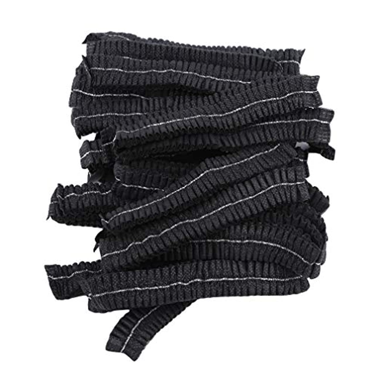 温帯サルベージ旅LJSLYJ 100ピースマイクロブレードパーマネントメイクアップ使い捨てヘアネットキャップ滅菌帽子眉毛スタイリングツールアクセサリー、黒