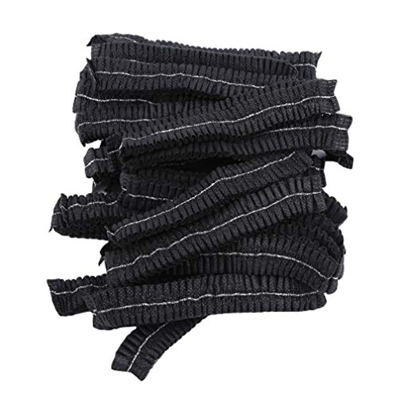 カブ破壊ここにLJSLYJ 100ピースマイクロブレードパーマネントメイクアップ使い捨てヘアネットキャップ滅菌帽子眉毛スタイリングツールアクセサリー、黒