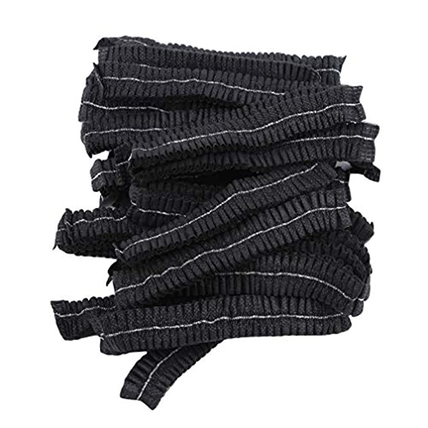 徴収スリップシューズ素敵なLJSLYJ 100ピースマイクロブレードパーマネントメイクアップ使い捨てヘアネットキャップ滅菌帽子眉毛スタイリングツールアクセサリー、黒