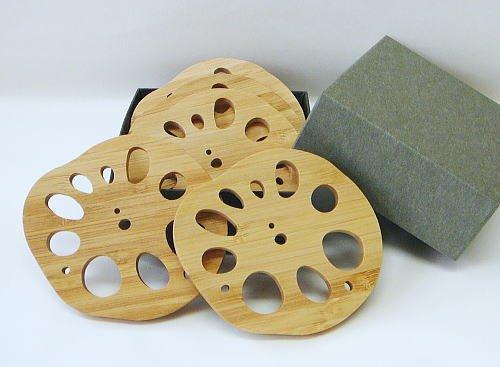 竹のレンコン型コースター(5枚箱入りセット)...