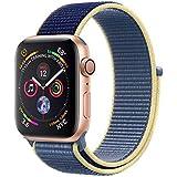 METEQI バンド 対応 Apple Watch、フックファスナー付き新しいナイロンスポーツループバンドストラップ交換バンドアップルウォッチシリーズ 適応 iWatch Series 6/5/4/3/2/1/SE (42mm/44mm, ブルーアラ