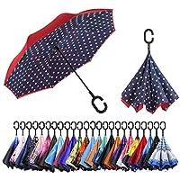 AmaGo 逆さ傘 - リバースダブルレイヤー ロング傘 C型ハンドル & 自立式で予備の針を収納 車やドライバーを濡らさない折りたたみ式 持ち運びバッグ 持ち運び簡単