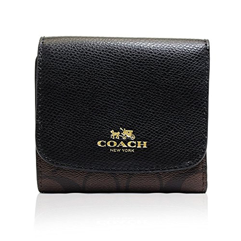 (コーチ)COACH 財布 三つ折り財布 バイカラー ラグジュアリー ブラウン PVC レザー スモール [ブランド][アウトレット]f53837imaa8 [並行輸入品]