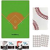 KPNSカドッコ野球ボール柄大・小2セット+野球下敷き+野球ノート(A6サイズ)ミシン綴じタイプ+シール2枚セット プライム
