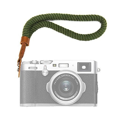 VKO カメラのリストストラップ for Canon EOS M5 M6 G9 X MarkII G7 X MarkII for Nikon ニコン 1 J5 J4 J3 V3 V2 V1 COOLPIX A ハンドストラップ緑色