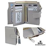 BEFEN  レディース 長財布 多機能2つ折り 本革 多機能 大容量 ゲートル型 カード入れ 札入れ 小銭入れ 持ち歩く 手乗り財布