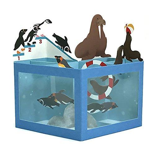 夏カード 水族館セイウチ&ペンギンたち SAR-725-563 (ホー120) 立体カード ホールマーク