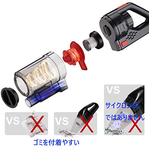 Kimitech   ハンディクリーナー サイクロン式 USB コードレス 乾湿両用 車用掃除機 5V1A B07SV11QMF 1枚目