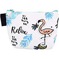 BIGBOBA Mini Coin Purse Creative Flamingo Waterproof Coin Pouch Portable Zipper Canvas Wallet Card Bag for Women Girls 12 * 9 * 9.5CM
