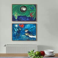 """INVIN ART Framed Canvas Art Combo Painting 2 Pieces by Marc Chagall Wall Art Series#4 Living Room Home Office Decorations(Wood Color Slim Frame,20""""x24"""")"""