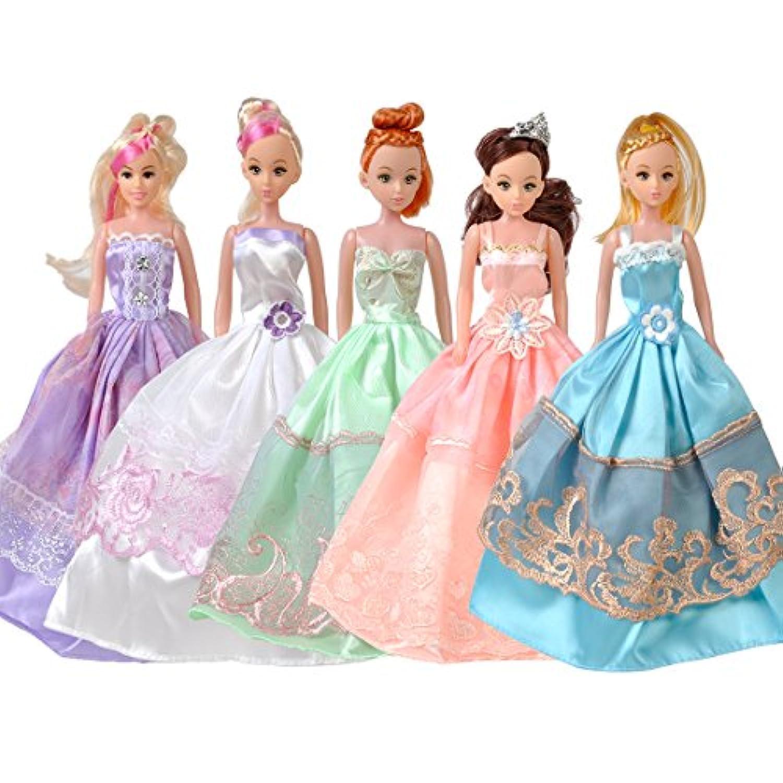 5パック 王女 ウェディングドレス パーティー ドレス服 バービー人形用