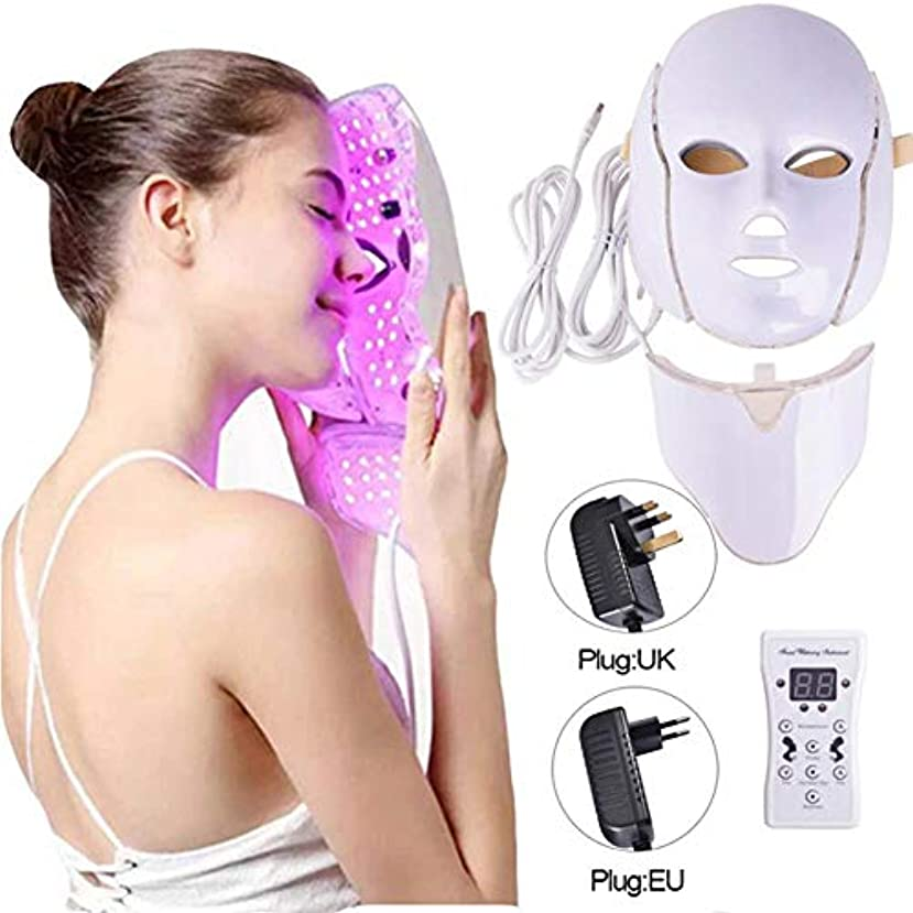 アレイ教授援助するネックマスクセット付きLEDマスクフォトンリジュビネーションスペクトル美容器具7色ライトLEDフェイシャルマスク