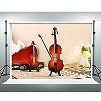 Gesen音楽バックドロップ10x 7ft文芸レトロバイオリン写真背景背景の画像テーマパーティー写真ブース小道具Studio xcge293