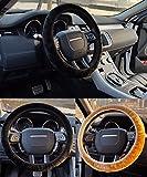 2pcs車ステアリングホイール保護カバー、ソフトFurryふわふわ冬暖かい滑り止めショート豪華車ステアリングホイールラップ手袋、フィット35–40cm