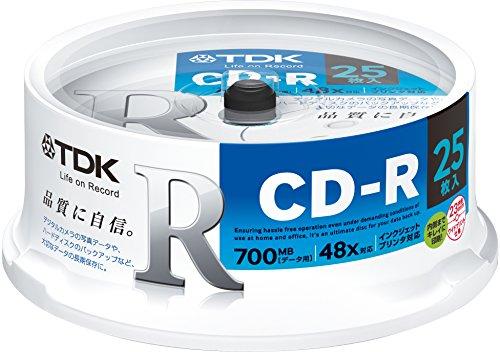 TDK CD‐R 品質に自信 CD‐R80PWDX25PE ケース25枚