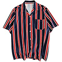 CHARMMA ZAFUL Men's Casual Short Sleeves Stripes Print Regular Fit Button Up Shirt