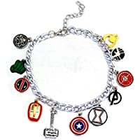Game of The Thrones Charm Bracelet with 12 Assorted Multiple Character Logo Charms, GOT Inspired Jewelry, Fantastic Fans' Collectible Jewelry Merchandise (GOT) (Avengers)