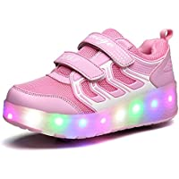 Chic Sources Boys Girls Light up Roller Shoes with 2 Wheels Skate Sneakers for Kids Youth
