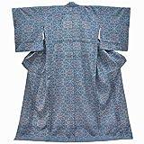 リサイクル 塩沢紬 中古 正絹 単衣 つむぎ 幾何学文様 裄67cm 青系 裄Lサイズ 身丈Mサイズ ii4267a05