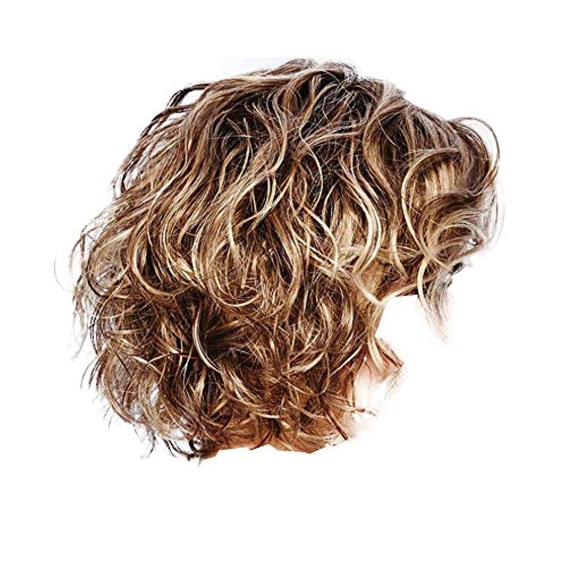 ラジカルブルリンケージ女性のための短い巻き毛のかつら茶色の小さな波髪かつら自然に見える耐熱合成ファッションかつらコスプレ