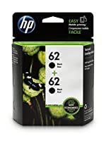 HP 62 Black Original Ink Cartridge (C2P04AN) 2 Cartridges (T0A52AN) [並行輸入品]