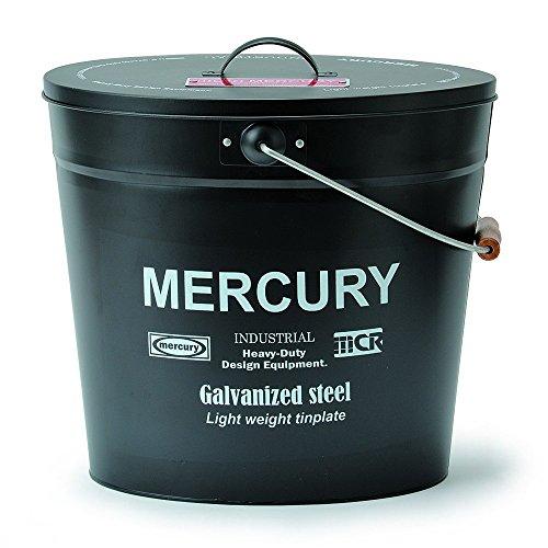 MERCURY マーキュリー オーバル バケツ フタ付き ブリキ製 ゴミ箱 MATT BLACK マット ブラック