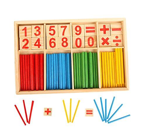 Maimaiti 子供 木製 算術おもちゃ 数え棒 計算おもちゃ 算数パズル マッチ棒 数学 数学パズル カウント玩具 玩具積み木 割り算 足し算 引き算 知育玩具 就学前 学前教育玩具 誕生日のプレゼント 出産祝い 贈り物