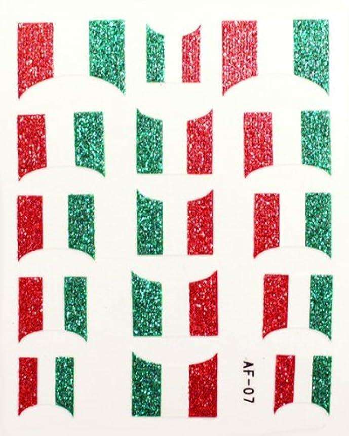 宗教郡きらめききらきら逆フレンチネイルシール イタリア国旗 AF07 貼るだけ ジェルネイルアート