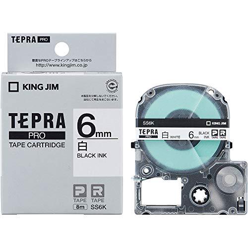 キングジム テプラ PROテープ 6mm 白ラベル 黒文字 1個 SS6K