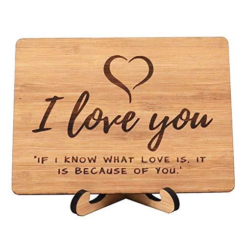 Zuaart I Love You グリーティングカード ハンドメイド 本物の竹材とスタンド付き - 愛するものが自分のためであることを知っています - あなたの愛のために最適