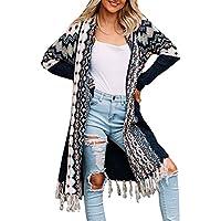 Ferbia Women Boho Cardigan Open Front Long Maxi Knit Sweaters Aztec Tribal Tassel Fringe Thin Coat